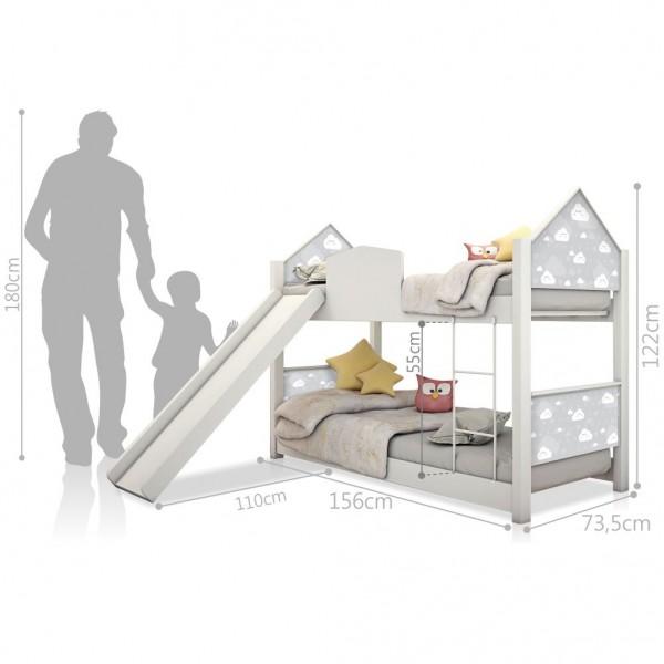 Beliche Infantil Casinha Prime Nuvem Cinza com Escorregador