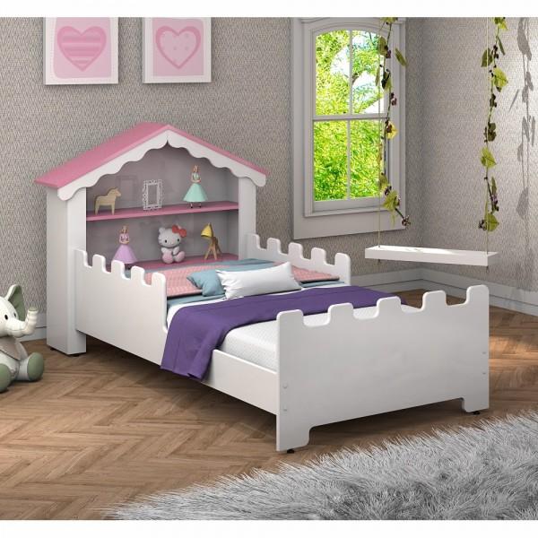 Cama Infantil Magic Branca Rosa