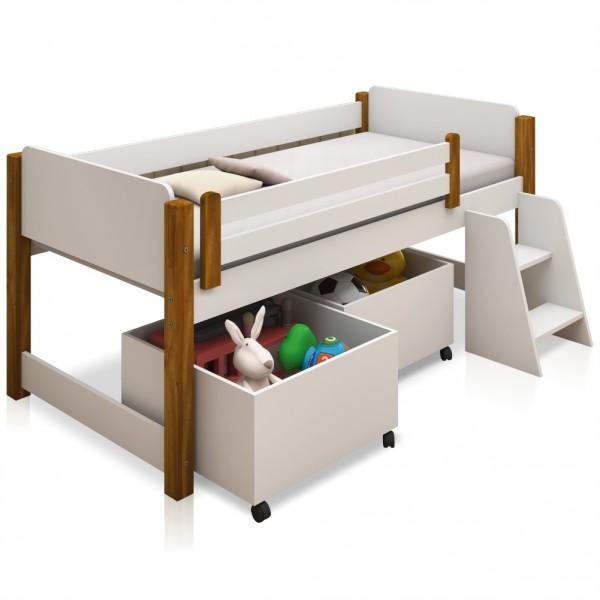 Cama Elevada Magia com Caixas Brinquedo e Colchão