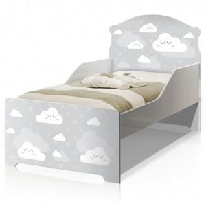 Cama Infantil Uly Nuvens Cinza com Colchão