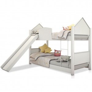 Beliche Infantil Casa Branca com Escorregador e Colchões
