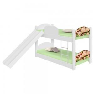 Beliche Infantil Safari Macaquinhos com Escorregador e Colchões