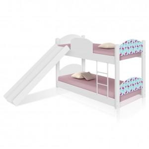 Beliche Infantil Flamingos com Escorregador e Colchões