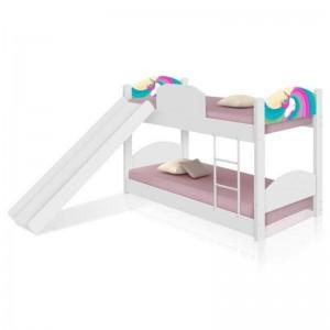 Beliche Unicórnio Arco Íris Infantil com Escorregador e Colchões