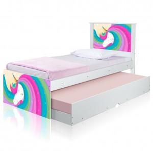 Bicama Juvenil Adesivada Unicórnio Arco íris com Colchões