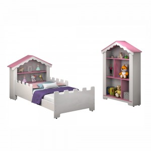Conjunto Cama Infantil Magic Branca Rosa e Estante