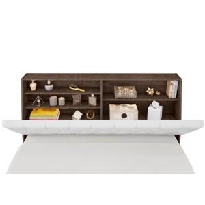 Cabeceira Box Queen Isis Chocolate com Capitonê Branco