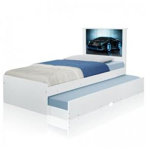 Cama Bibox Solteiro Carro Raio Azul