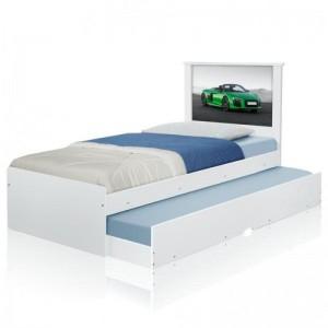 Cama Bibox Solteiro Carro Verde Veloz com Colchões