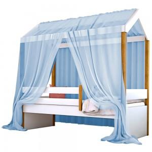 Cama Montessoriana Exclusiv Solteiro com Voal Azul
