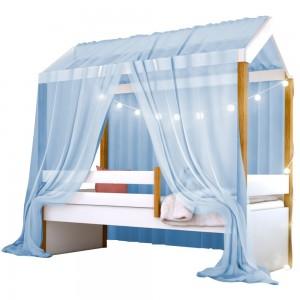 Cama Montessoriana Exclusiv Solteiro Fio de Luz e Voal Azul