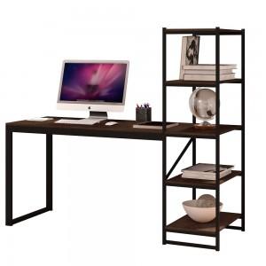 Mesa para Escritório com Estante Mega Preto Castanho Rustico