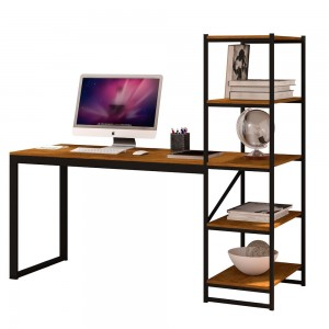 Mesa para Escritório com Estante Mega Preto Canela Rustico