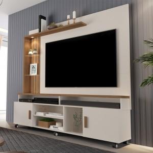 Home para TV Plote Off White e Canela
