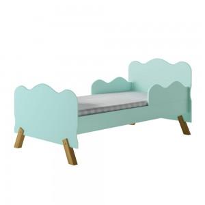 Cama Infantil Nuvem Verde com Proteção Lateral e Colchão