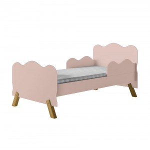 Cama Infantil Nuvem Rosa com Proteção Lateral e Colchão