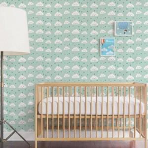 Papel de Parede Infantil Nuvem Verde