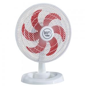 Ventilador Mesa Lorena Branco Oscilante 220V Pás Vermelha