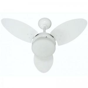 Ventilador Ventura Branco Rattan 110V 3 Pás Brancas